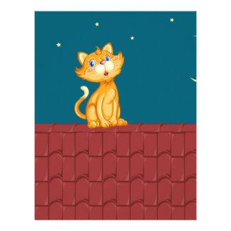 Gato y tejado membrete a diseño