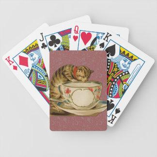 Gato y Victorian del vintage de la taza de té Baraja Cartas De Poker