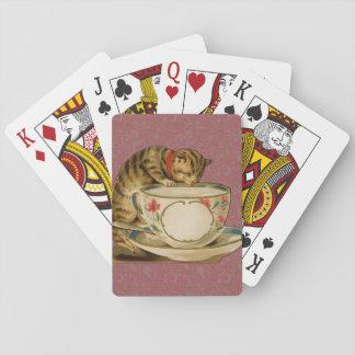 Gato y Victorian del vintage de la taza de té Cartas De Póquer