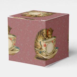 Gato y Victorian del vintage de la taza de té Cajas Para Regalos De Boda