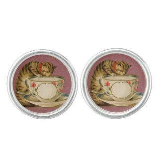 Gato y Victorian del vintage de la taza de té Gemelos