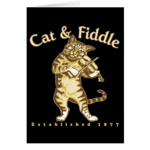 Gato y violín tarjeta de felicitación
