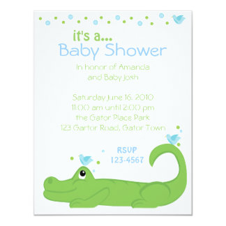 Gator and Blue Birds 4.25x5.5 Paper Invitation Card