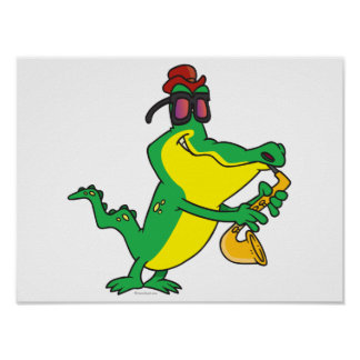 gator blues alligator playing sax cartoon poster