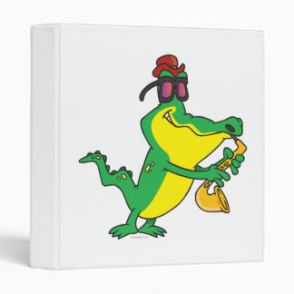 gator blues alligator playing sax cartoon vinyl binder