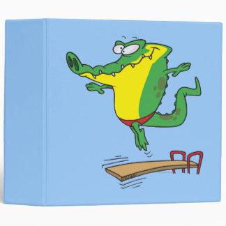 gator diving off diving board cartoon vinyl binder