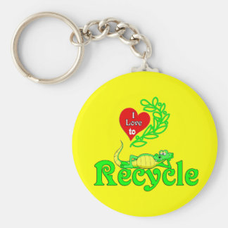 Gator Gab.:-) I love To Recycle. Basic Round Button Keychain