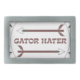 Gator-Hater-est-garnet Rectangular Belt Buckle