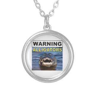gator jaws silver plated necklace