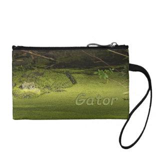 Gator Lurking in Duckweed - Nature Photograph Change Purse