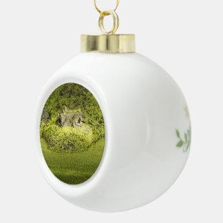 Gator Lurking in Duckweed - Nature Photograph Ceramic Ball Christmas Ornament