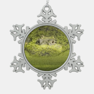 Gator Lurking in Duckweed - Nature Photograph Snowflake Pewter Christmas Ornament