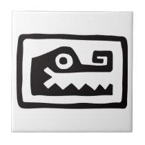 Gator, Mexican hieroglyph(Maya) Ceramic Tile