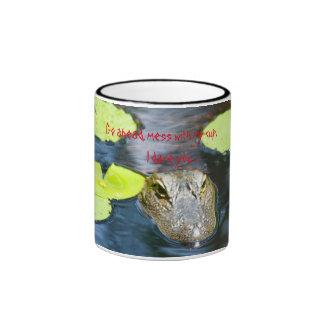Gator mug with warning