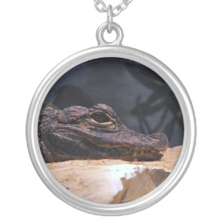 Gator Necklace. Round Pendant Necklace