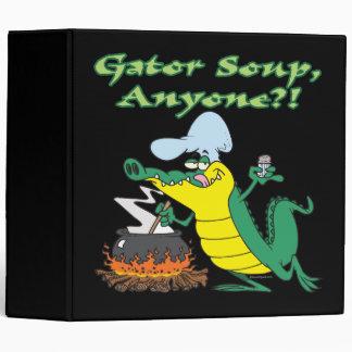 gator soup anyone funny alligator cooking cartoon binder