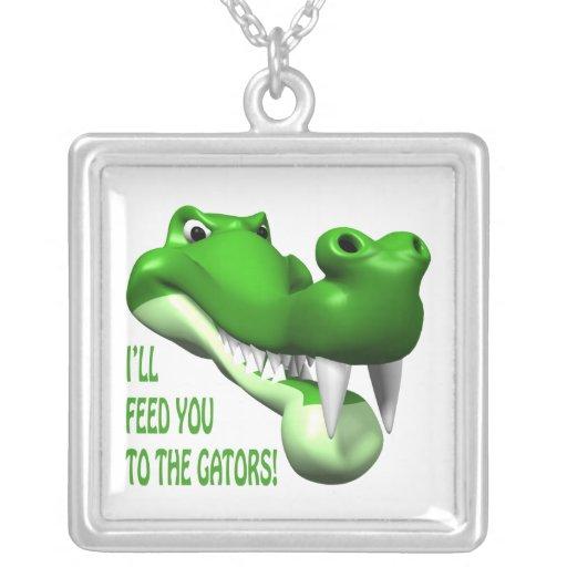 Gator Square Pendant Necklace