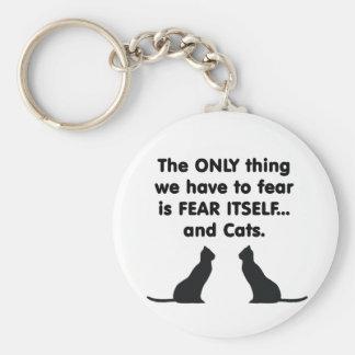 Gatos 2 del miedo sí mismo llavero redondo tipo pin