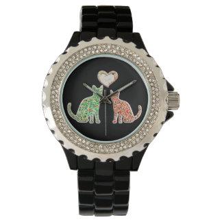 Gatos abstractos de moda femeninos lindos del reloj de mano