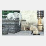 Gatos adorables del elefante pegatina rectangular