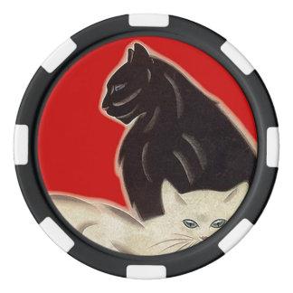Gatos afortunados rojos blancos de Deco del negro Juego De Fichas De Póquer