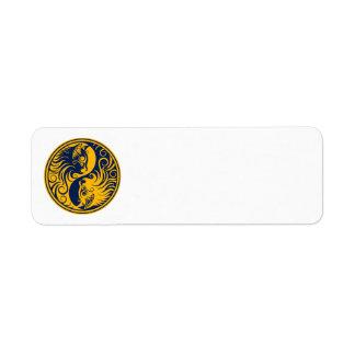 Gatos amarillos y azules de Yin Yang Etiquetas De Remite