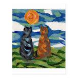 Gatos anaranjados grises del arte del gato tarjeta postal