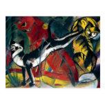 Gatos antiguos hermosos de la pintura al óleo tres tarjetas postales