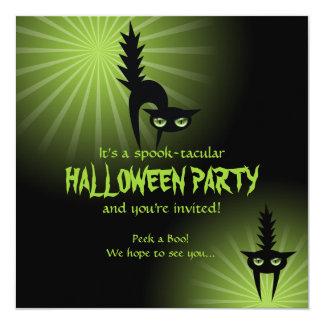 "Gatos asustados negro de Halloween Invitación 5.25"" X 5.25"""