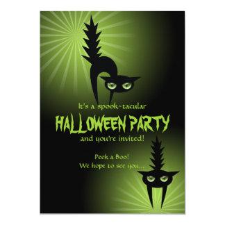 "Gatos asustados negro de Halloween Invitación 5"" X 7"""