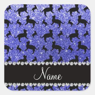 Gatos azules de neón conocidos personalizados del pegatina cuadrada
