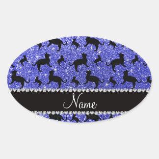 Gatos azules de neón conocidos personalizados del pegatina ovalada