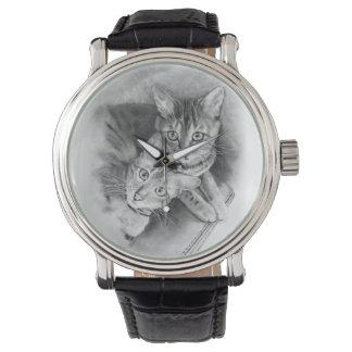 Gatos: Bengals: Dibujo de lápiz original Relojes