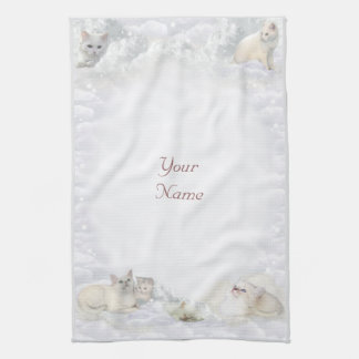 Gatos blancos con su nombre toallas