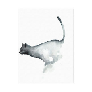 Gatos blancos de la lona del gato gruñón gris impresiones en lienzo estiradas