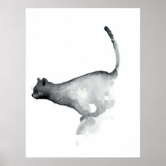 Gatos blancos del poster del gato gruñón gris