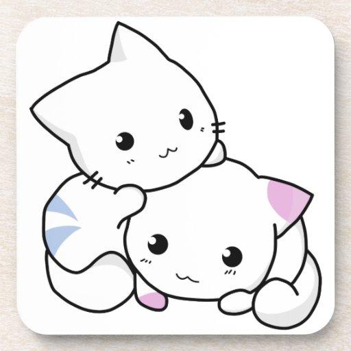 Gatos blancos lindos y adorables posavasos
