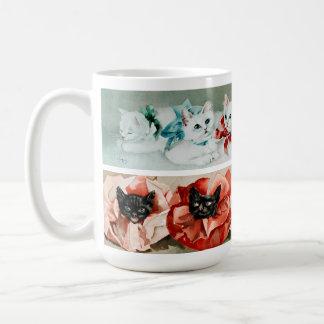 Gatos blancos y negros del vintage - litografía taza