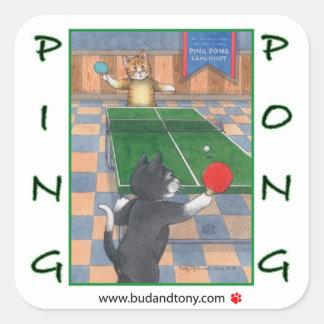 Gatos brote del ping-pong y pegatina de Tony