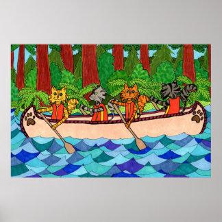 Gatos Canoeing Impresiones