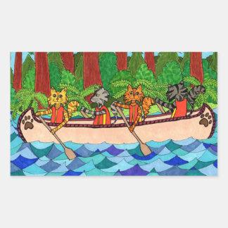 Gatos Canoeing Pegatina Rectangular