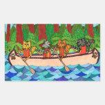 Gatos Canoeing Rectangular Pegatinas