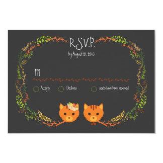 """Gatos caprichosos del bosque que casan RSVP Invitación 3.5"""" X 5"""""""