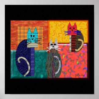 Gatos caprichosos en arte de la LONA Posters