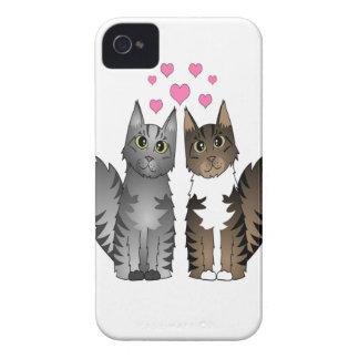 Gatos cariñosos lindos - gris y Tabby de Brown iPhone 4 Case-Mate Funda