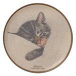 Gatos: Chessie: Cocina: Placa: Sepia Plato De Comida