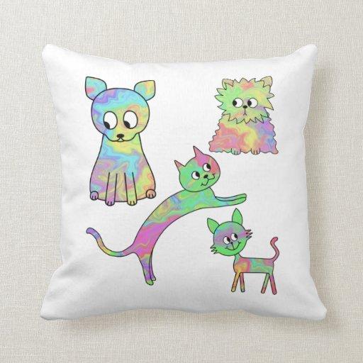 Gatos coloridos almohadas