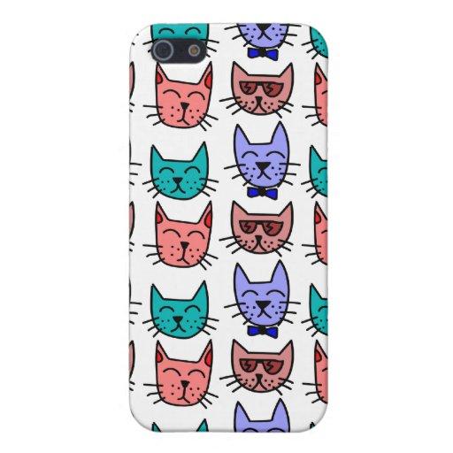 Gatos coloridos del dibujo animado iPhone 5 fundas