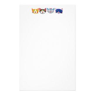 gatos coloridos felices del estallido  papeleria de diseño