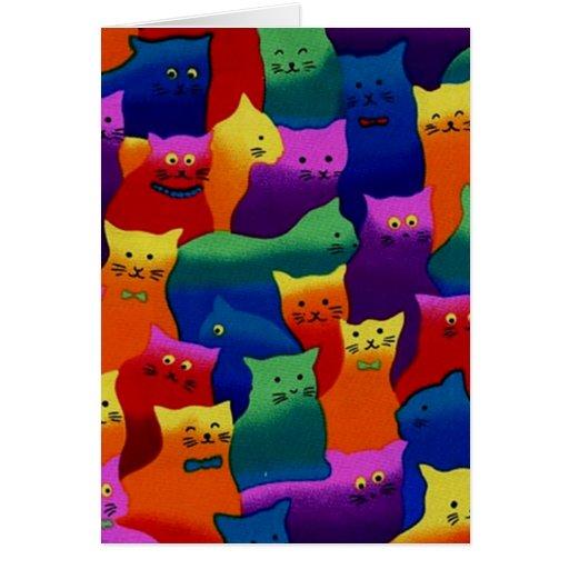 Gatos coloridos felicitaciones